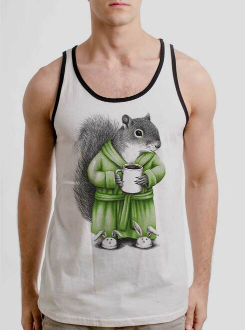 Coffee Squirrel - Multicolor on White with Black Mens Tank Top