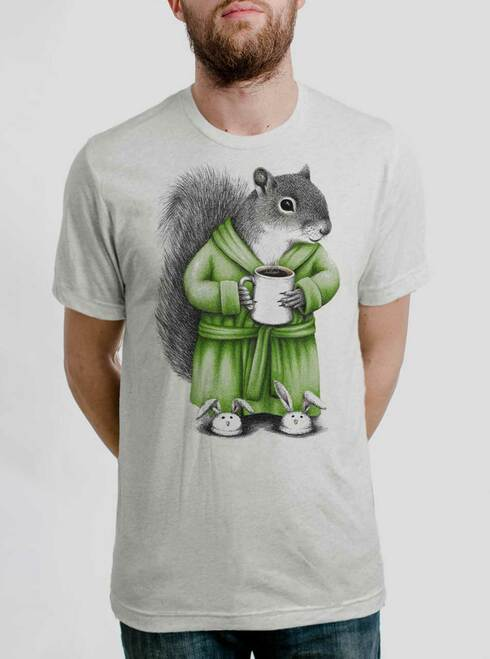 Coffee Squirrel - Multicolor on Heather White Triblend Mens T Shirt