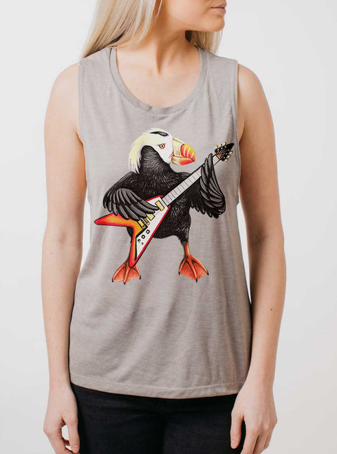 Shredding Puffin - Multicolor on Heather Stone Womens Muscle Tank