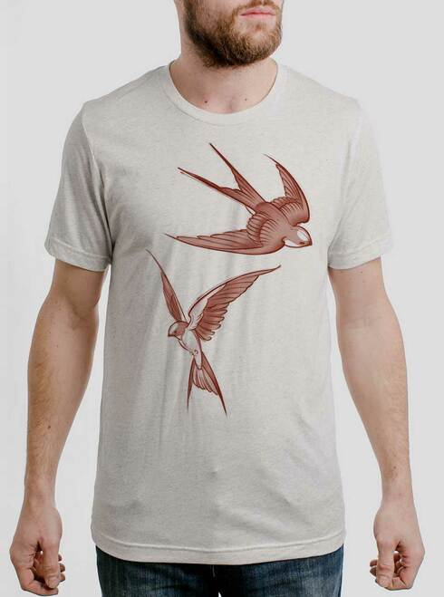 Swallows - Multicolor on Heather White Triblend Mens T Shirt