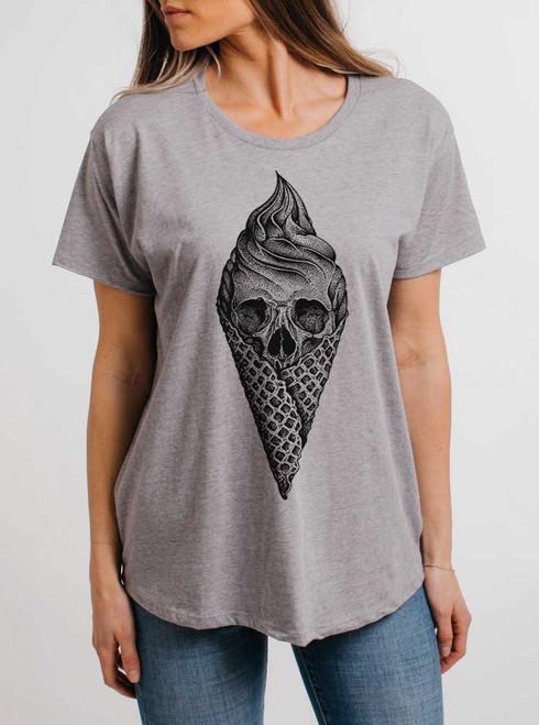 Deadly Decadence - Black on Heather Grey Womens Boyfriend T Shirt