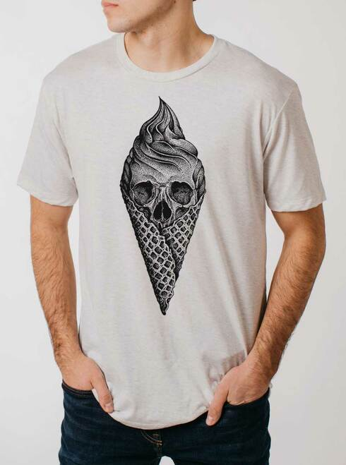 Deadly Decadence - Black on Heather White Triblend Mens T Shirt