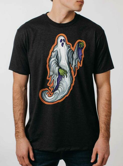 Ghost - Multicolor on Heather Black Triblend Mens T Shirt