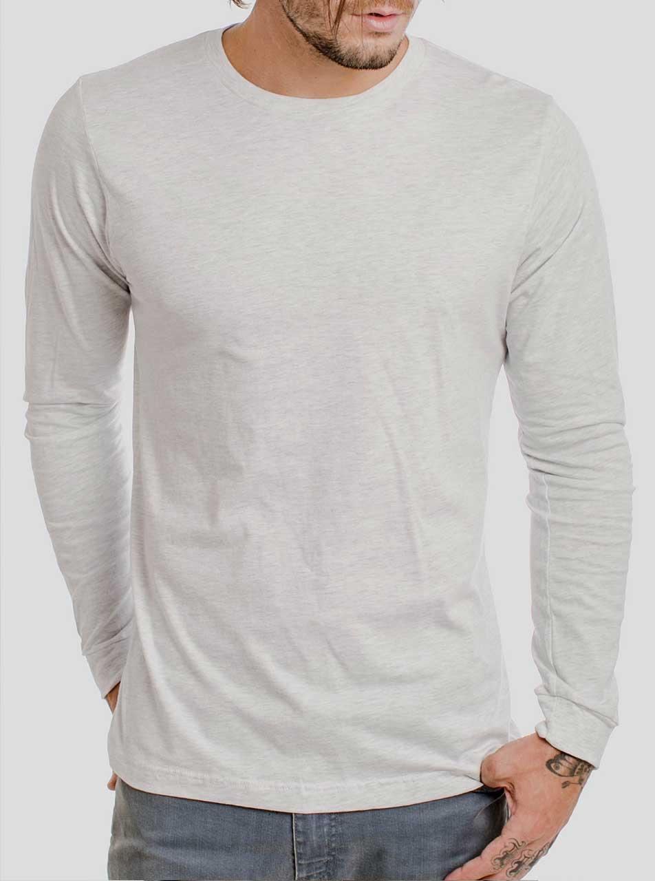 Heather White Blank Men's Long Sleeve Shirt