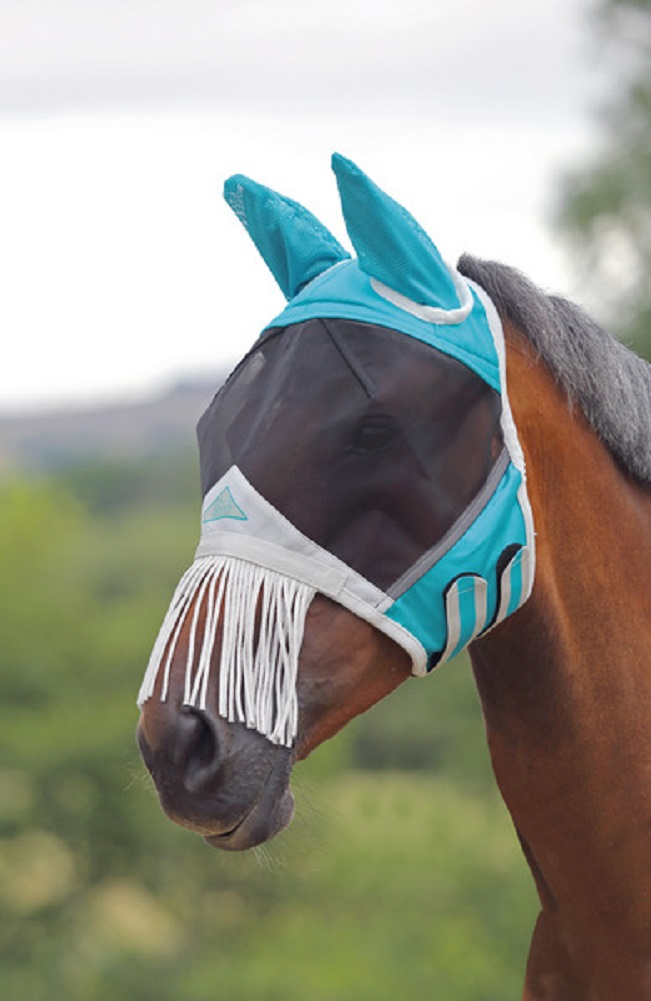 Shires Fine Mesh Fly Mask - Nose Fringe & Ears
