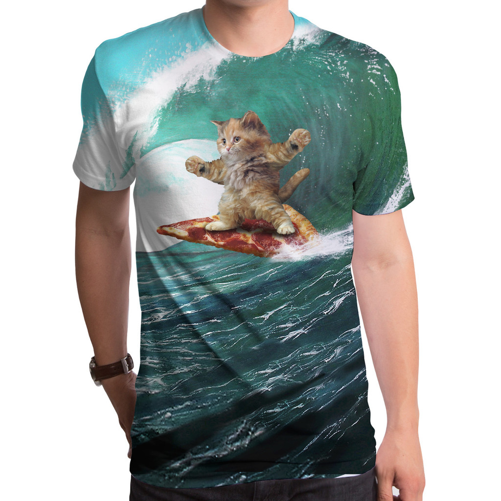 Surf's up Pizza Cat Sublimated T-Shirt