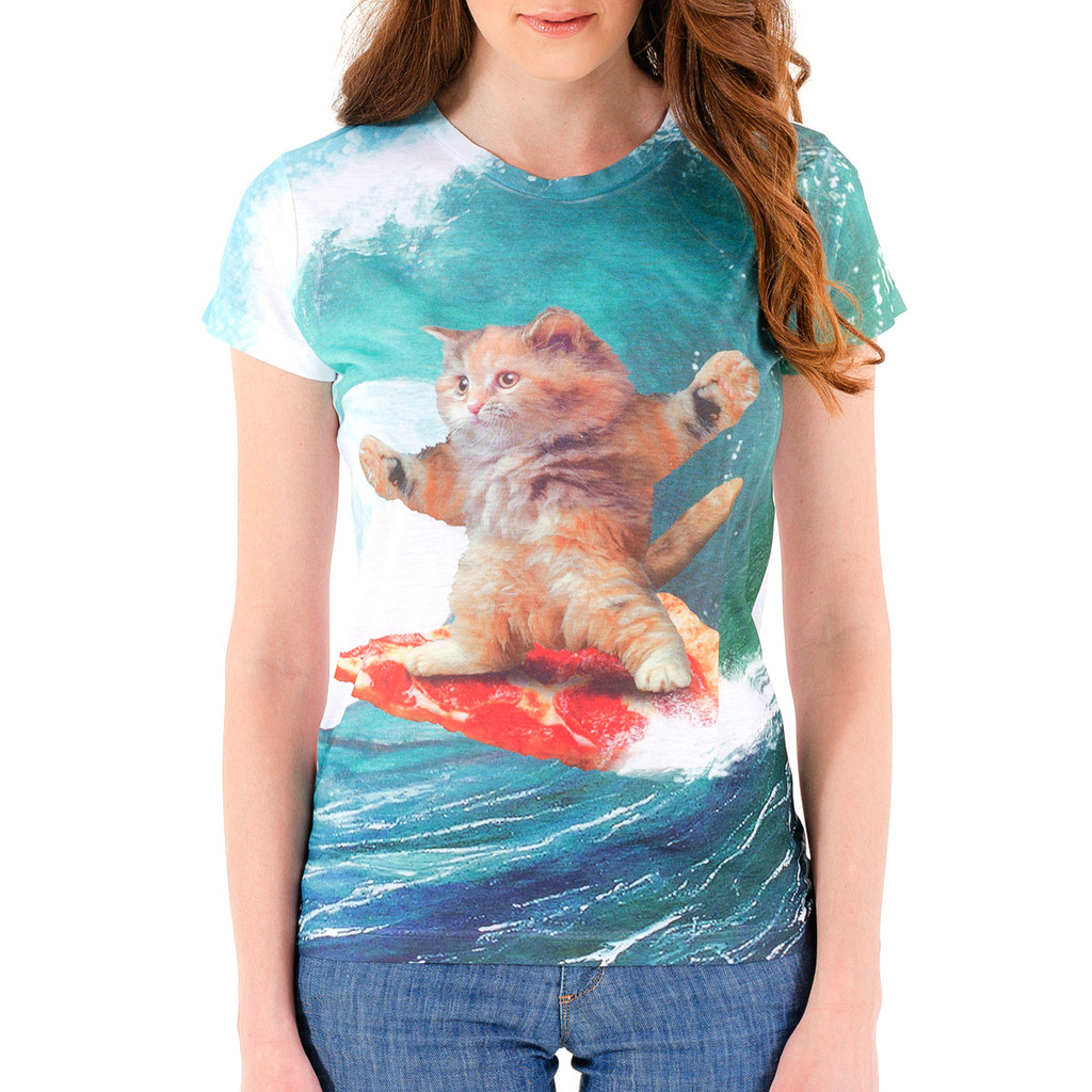 Surf's Up Pizza Cat Girls Sublimated T-Shirt