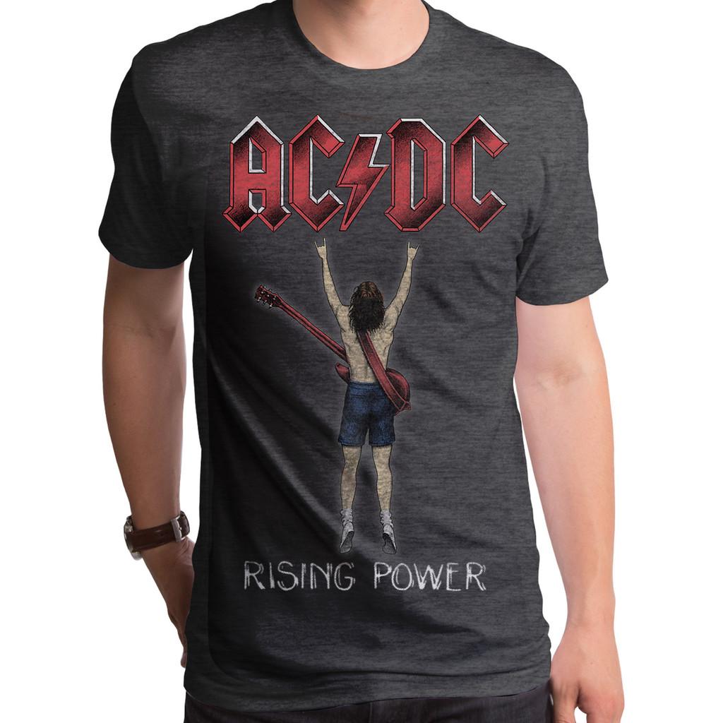 AC//DC Men/'s  Rising Power Fingers T-shirt Heather Charcoal