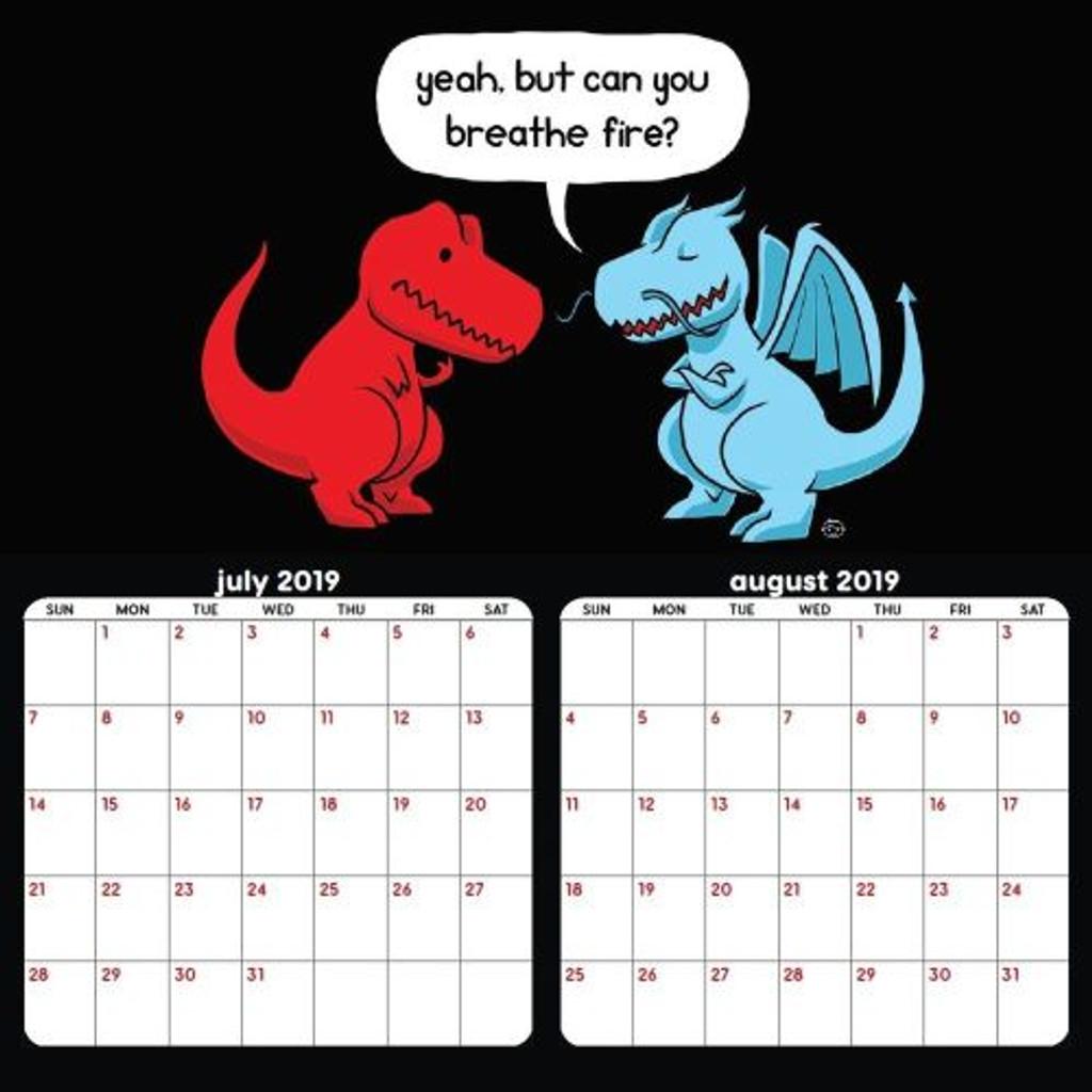 Sad T-Rex 18 Month 2020 Calendar