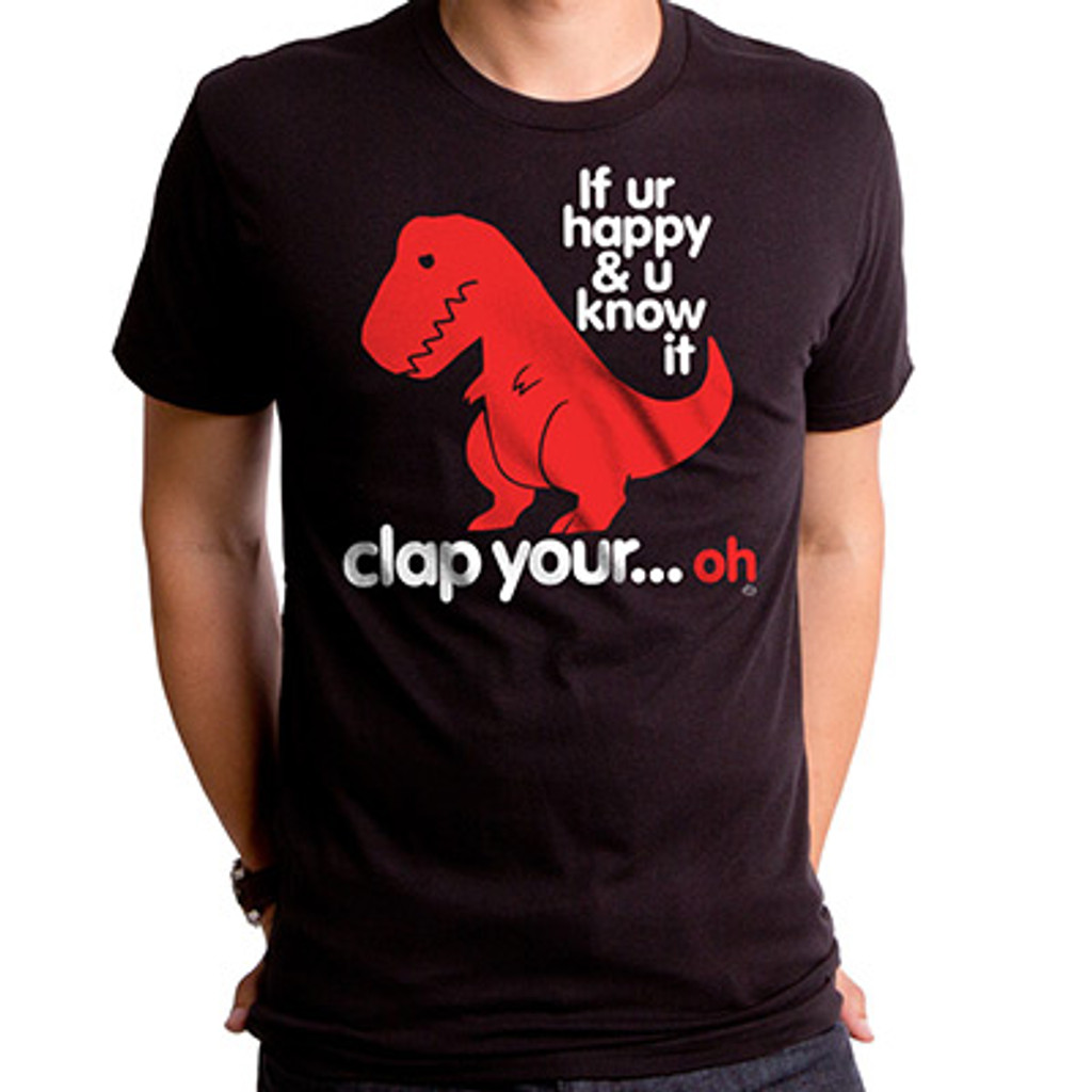 20abdd091 Sad T-Rex Men's T-Shirt, Clap Your Oh Shirt - Sad Dinosaur T Shirt, Funny Dinosaur  T Shirt - Goodie Two Sleeves