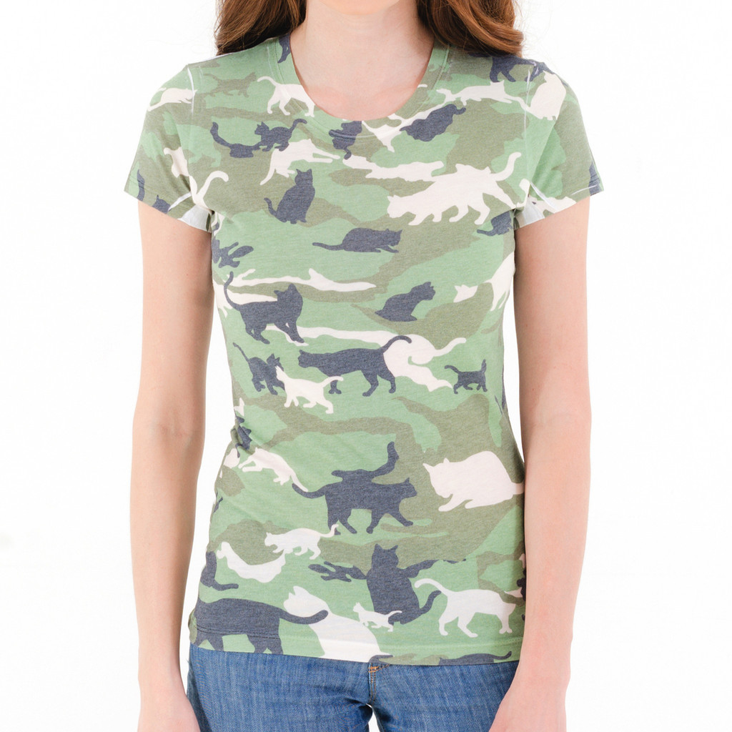 7d7d7d650 Cat Camouflage Women's T-Shirt – Cat Camouflage T Shirt, Funny Cat ...