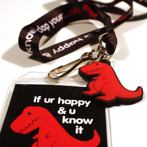 Sad T-Rex Dino Lanyard
