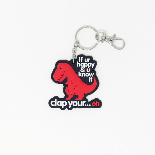 Clap Your Oh Dino Rubber Keychain