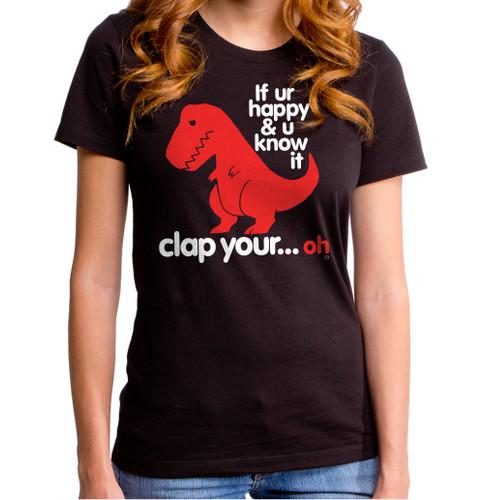 Sad T-Rex Clap Your Oh Dino Girls T-Shirt