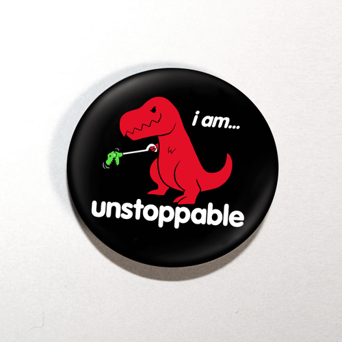"Unstoppable Dino 1.25"" Button"