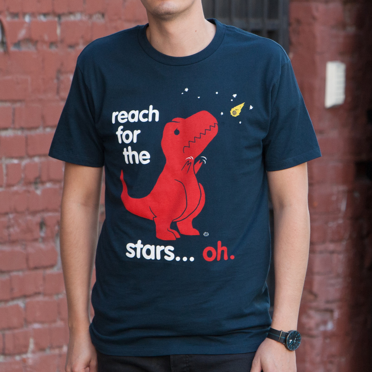 acfcd7f98 Reach For The Stars Men's T-Shirt – Sad T-Rex Dinosaur T Shirt, Funny  Dinosaur Shirt, This Funny Dinosaur / T Rex has Short Arms! - Goodie Two  Sleeves