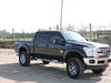 """Aluminum Headache Rack in gloss black powdercoat installed on 2015 Ford F250. Shown with optional 52"""" LED Light Bar and LED Work Lights."""