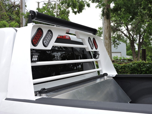 Gloss White Aluminum Headache Rack.  Shown with Optional LED Light-Bar and LED Work Lights. Made by: Aluminum Tank & Tank Accessories, Inc. Call us today for more details, 1-800-773-3047.