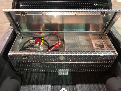 PN# AT50CAT. 50 gallon aluminum transfer tank and toolbox combination. Legal for use with Diesel, Gasoline, Ethanol, Methanol and Aviation Fuel. Made by Aluminum Tank & Tank Accessories, Inc.  *(Shown with optional Fill-Rite 12V 8GPM Transfer Pump, Auto-Fill Nozzle, and Multi-plane Swivel. Sold Separately).