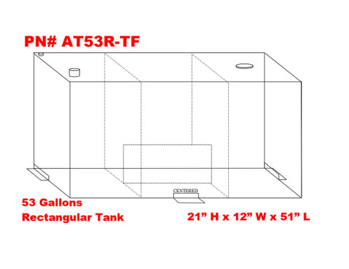 AT53rTF - DOT Legal Transfer Tank  PN# AT53RTF. 53 gallon aluminum rectangular transfer tank. Legal for use with Diesel, Gasoline, Ethanol, Methanol and Aviation Fuel.  Made by Aluminum Tank & Tank Accessories, Inc.