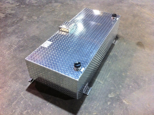 92 Gallon, Rectangular Below Rail. Design to fit under truck bed cover