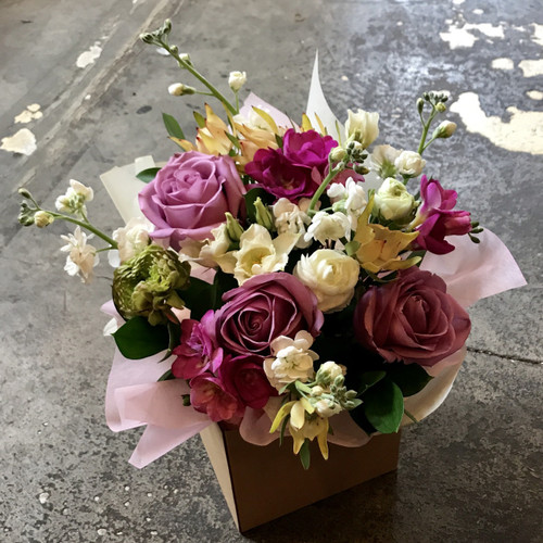 Florist choice pastel box arrangement