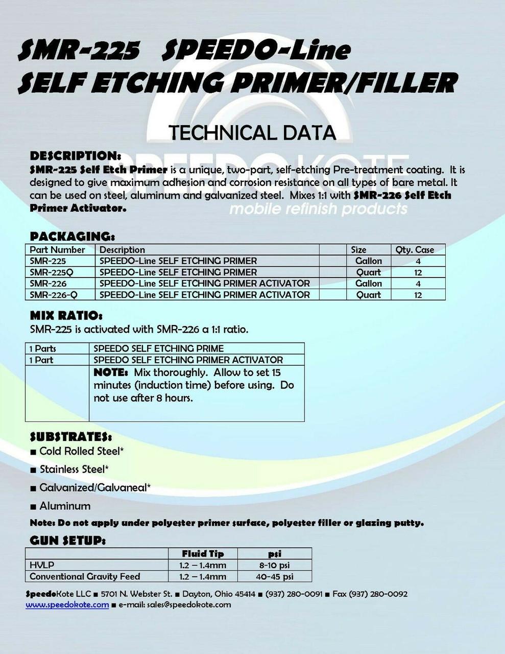 Self Etching Green/Gray Primer, Quart Kit , SMR-225/226-Q