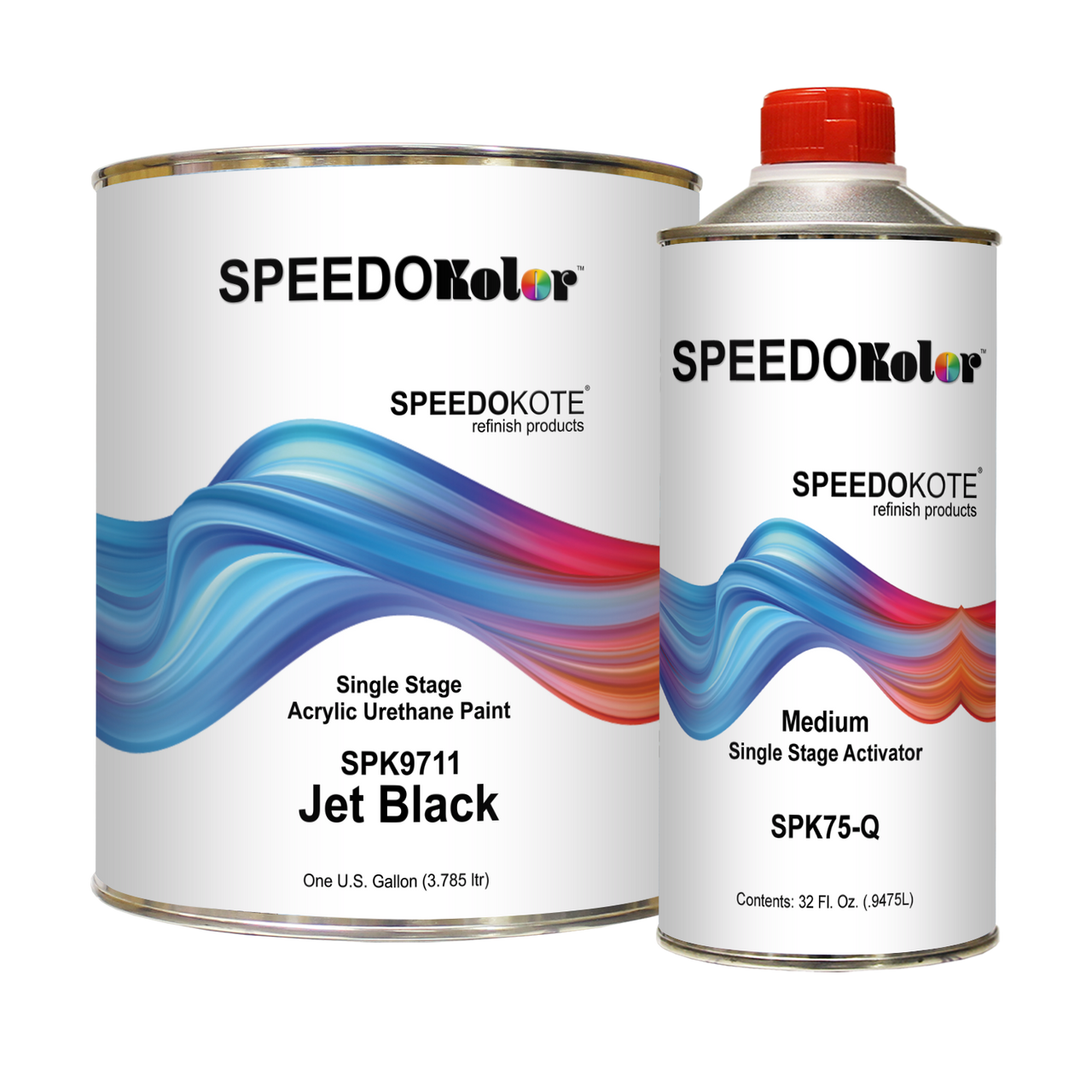 High Gloss Jet Black 2K Acrylic Urethane, 4:1 Gallon Medium Kit, SPK9711/SPK75