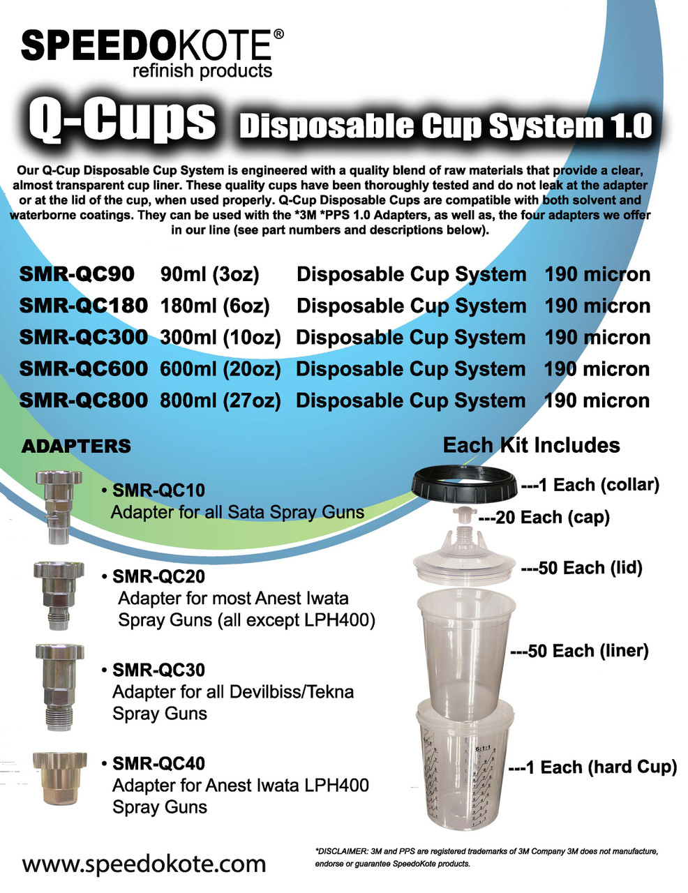 Speedokote Q-Cup 180ml Disposable Liner Cup System, 190 micron, Requires Adapter