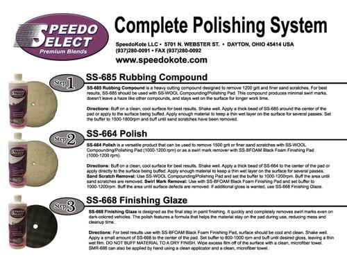 Automotive Polishing Kit, Super Gloss, SS-685-8, SS-664-8 & SS-668-8, 8 oz. Each