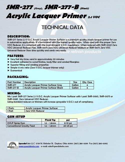 2.1 voc Acrylic Lacquer Primer Black 2 gal. kit Hot Temp Reducer SMR-277-B/0085