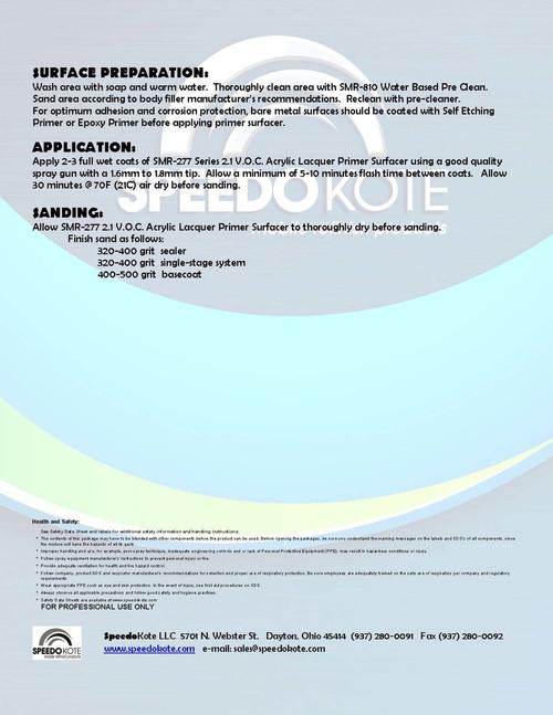 2.1 voc Acrylic Lacquer Primer Black 2 gal. kit Cool Temp Reducer SMR-277-B/0065