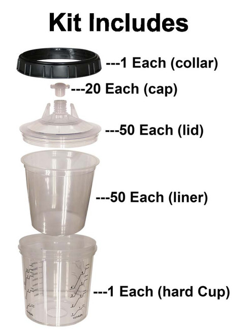Speedokote Q-Cup 800ml Disposable Liner Cup System, 190 micron, Requires Adapter