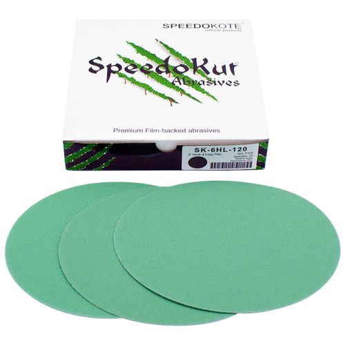 Automotive Sandpaper 120 grit, Premium Film Backed Abrasive, 6 inch Hook & Loop Discs, 25 pack