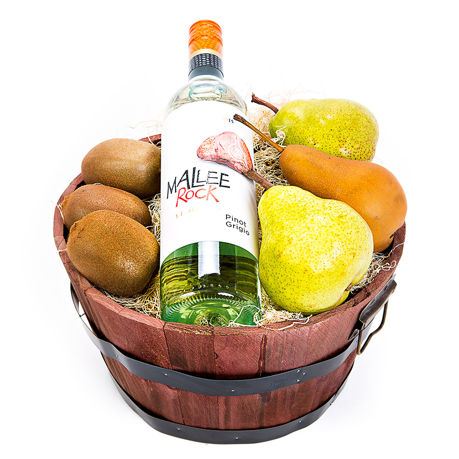 Australian wine paired with Australian fruit in this perfect gift barrel.  Available in Toronto and the GTA Gift Includes: •	Wooden Handled Basket •	Mallee Rock Pinot Grigio •	Fresh Kiwi's and Pears