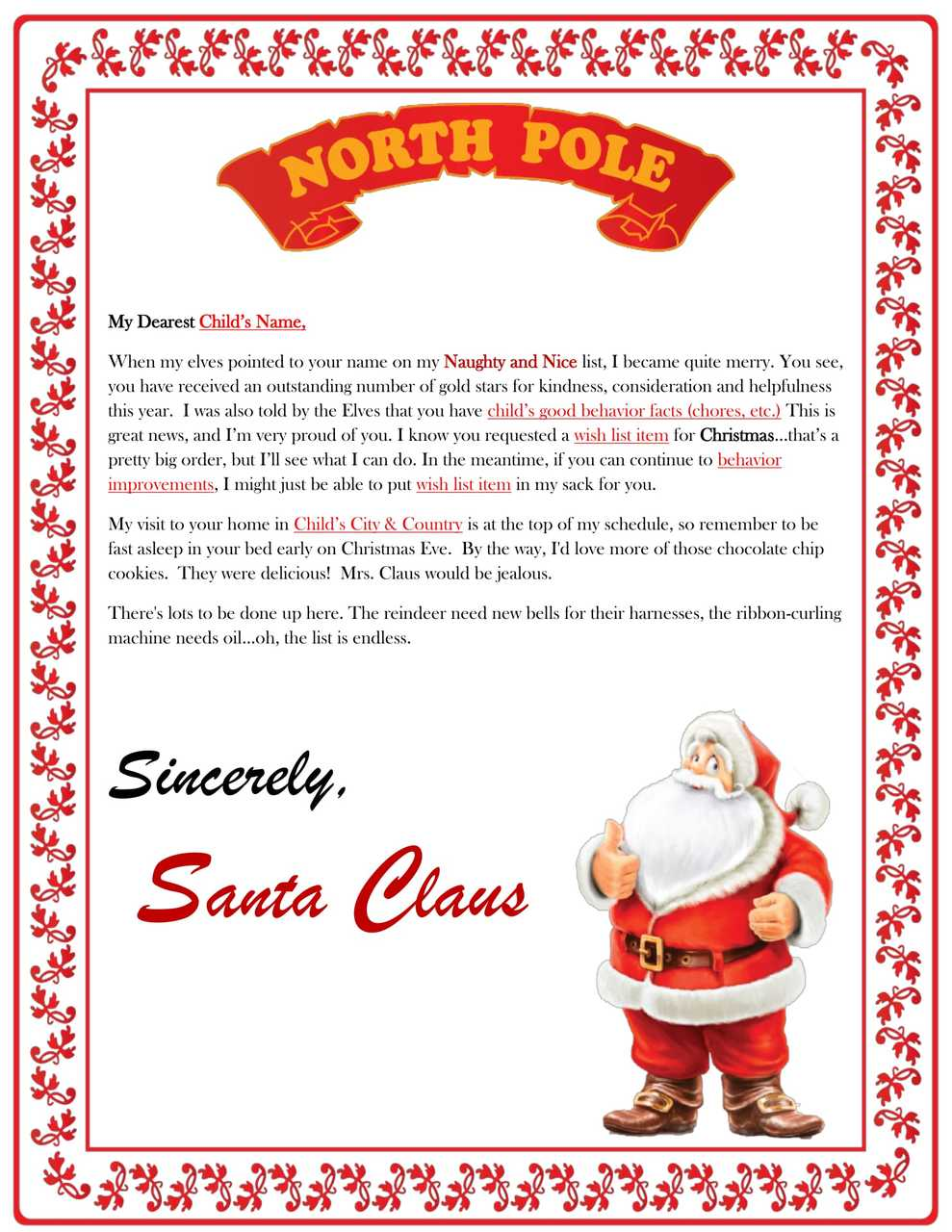 Letter From Santa Claus - Gift Baskets/Gift Basket ...