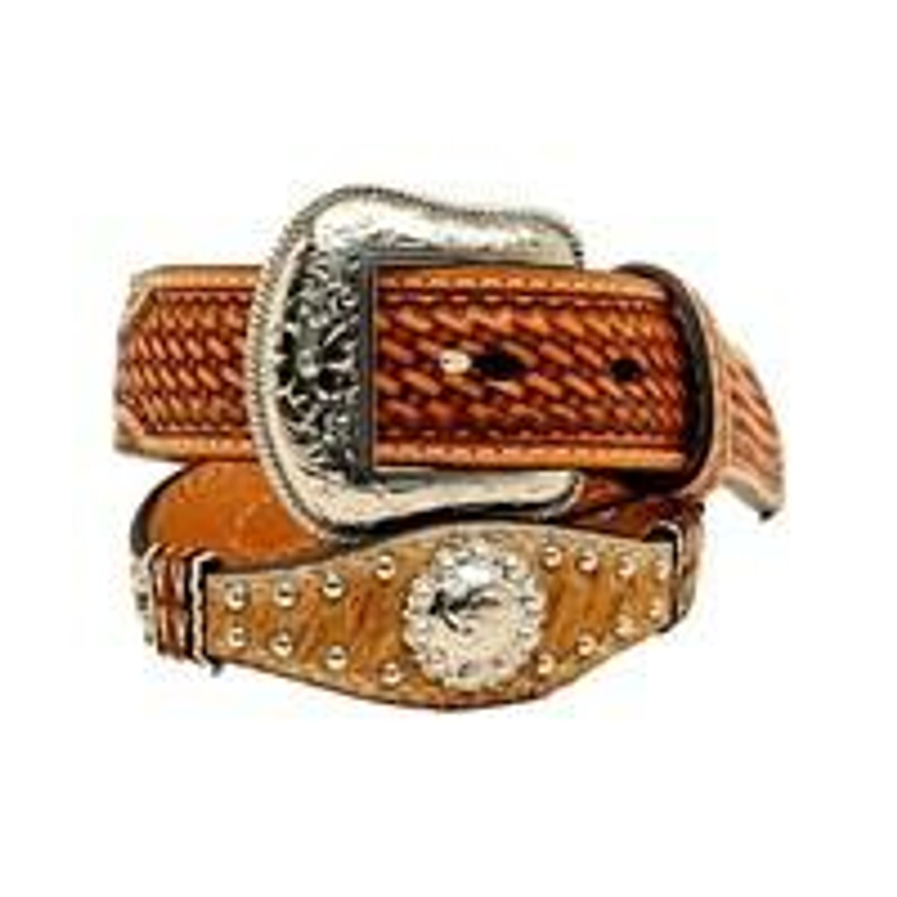 Nocona Boys Floral Leather Belt