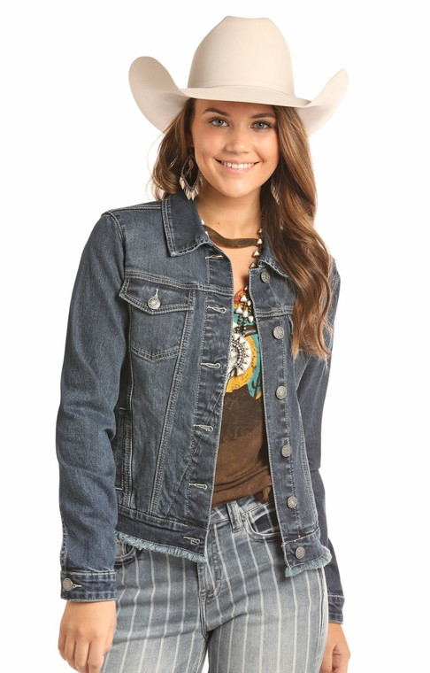 Rock & Roll Cowgirl Long Sleeve Reflex Denim Jacket With Lace Up Back- 52-2545