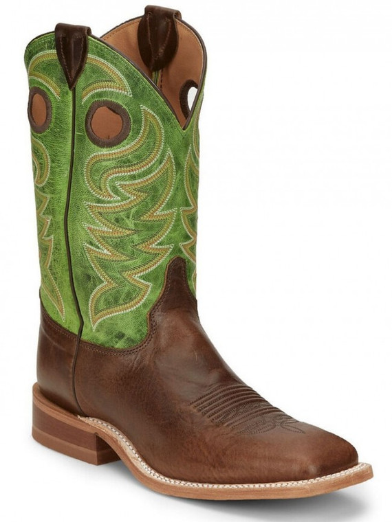 Justin Men's Clinton Taupe Western Boots - Wide Square Toe  - BR723