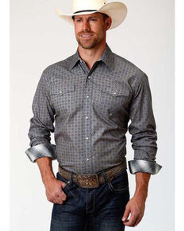 Roper Men's Amarillo Moonshadow Foulard Geo Print Short Sleeve Western Shirt - 301225367GY