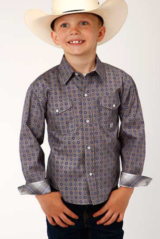 Amarillo Boys' Moonshadow Foulard Geo Print Long Sleeve Western Shirt  - 330225367GY