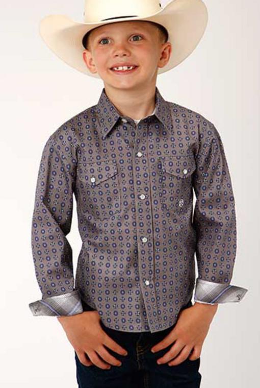 Amarillo Boys' Moonshadow Foulard Geo Print Long Sleeve Western Shirt  - 330225367GY