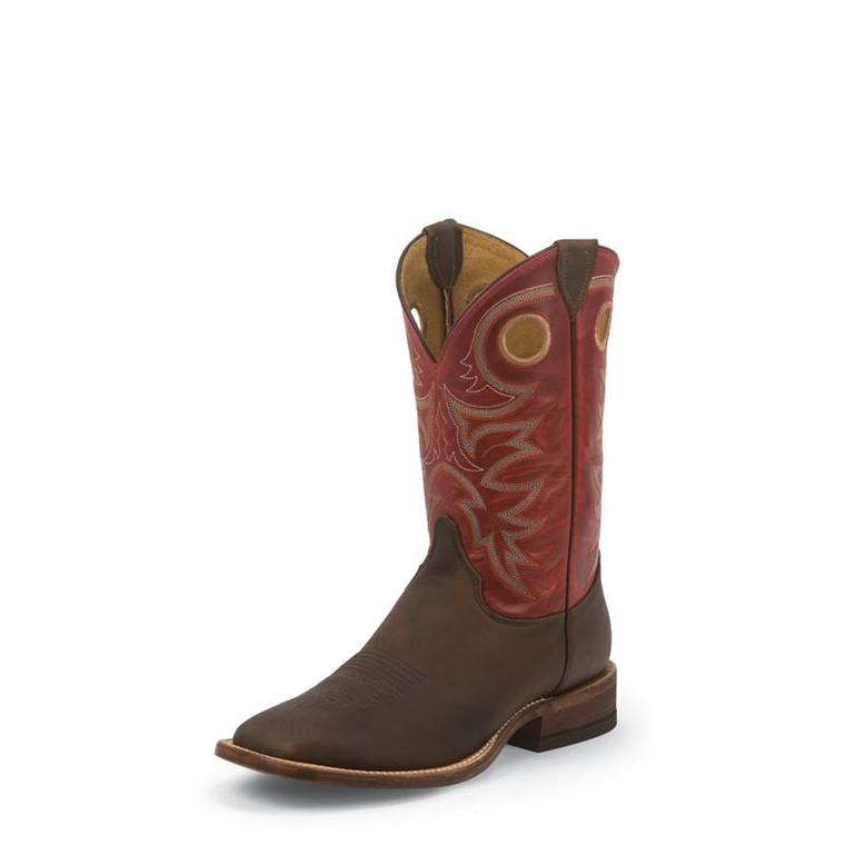 JUSTIN MEN'S BROWN BENT RAIL® BOOTS WITH RED TOP - BR737