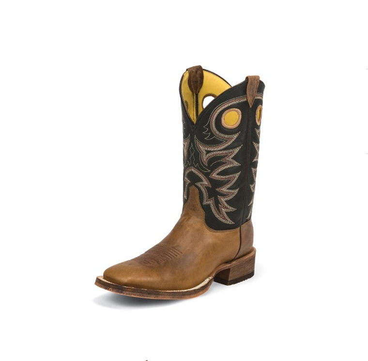 JUSTIN MEN'S COWHIDE BENT RAIL® BOOTS WITH BLACK SPIRAL TOPS - BR740