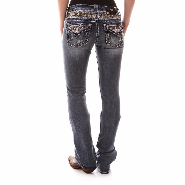 Miss Me Womens Camo Inlay Boot Cut Jeans - JP8496B
