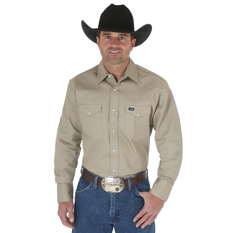Cowboy Cut® Firm Finish Long Sleeve Western Snap Solid Work Shirt - MS70319