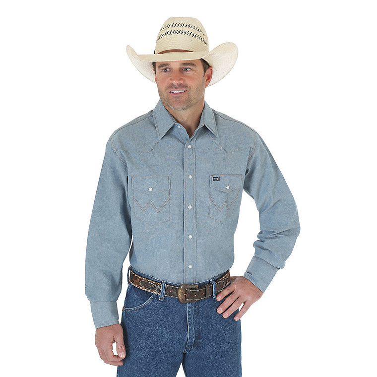 Cowboy Cut® Firm Finish Long Sleeve Western Snap Solid Work Shirt - MS70919
