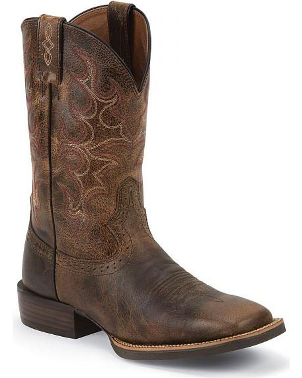 JUSTIN SILVER CATTLEMAN COWBOY BOOTS - SV7216