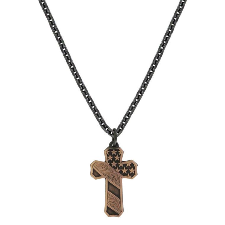 Mens Faded Glory Cross Necklace - nc3771blb