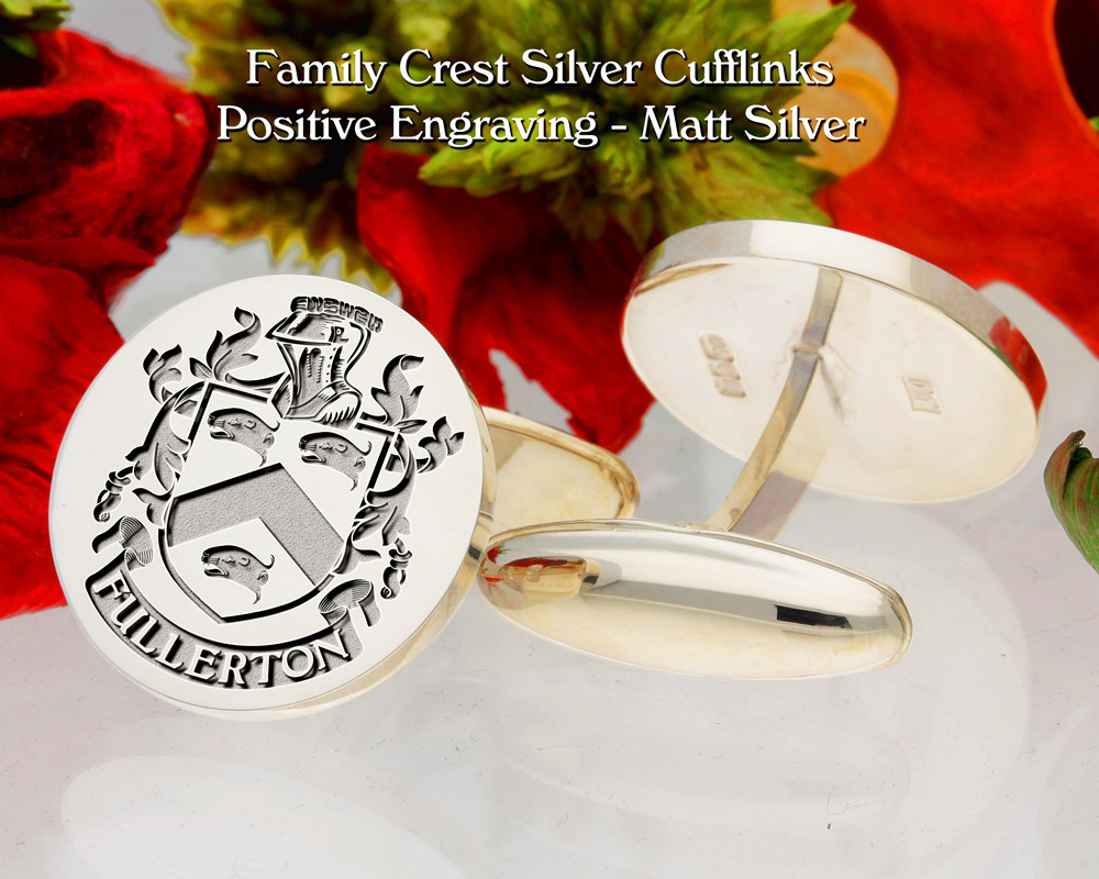 Fullerton D1 Family Crest Cufflinks Positive Engraving